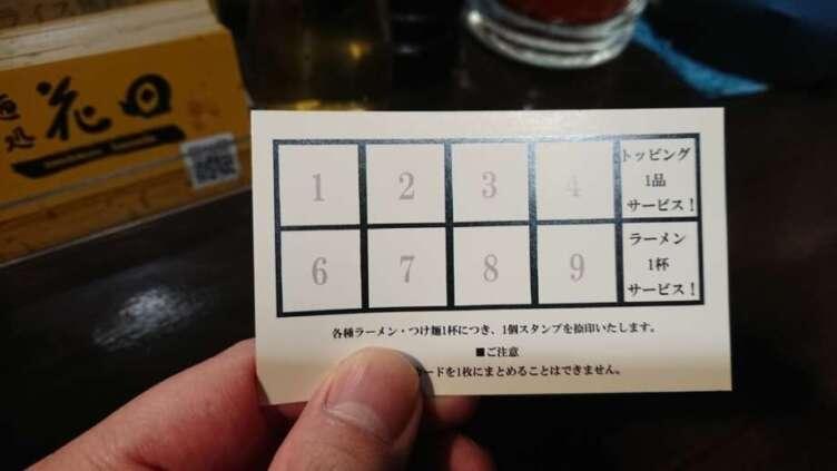 麺処花田のポイントカード