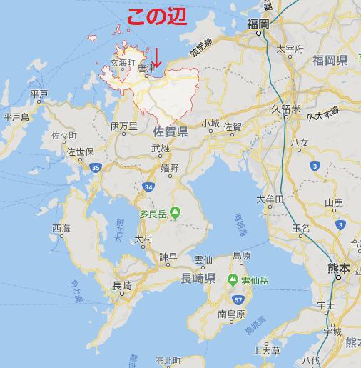 九州の佐賀県唐津の場所