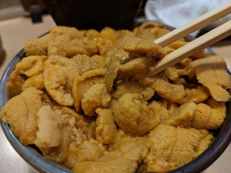 ウニ丼を食べるところ