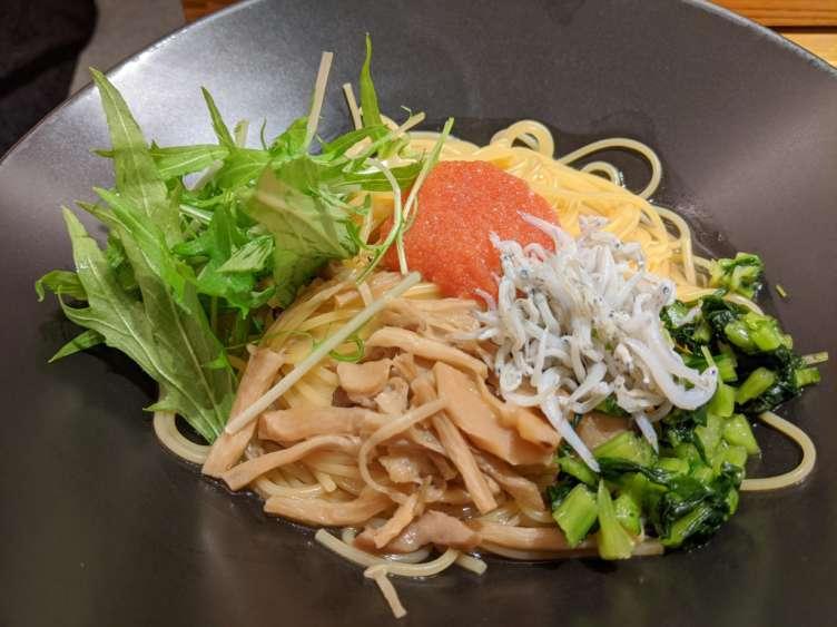 明太子としらすの野沢菜和えパスタ